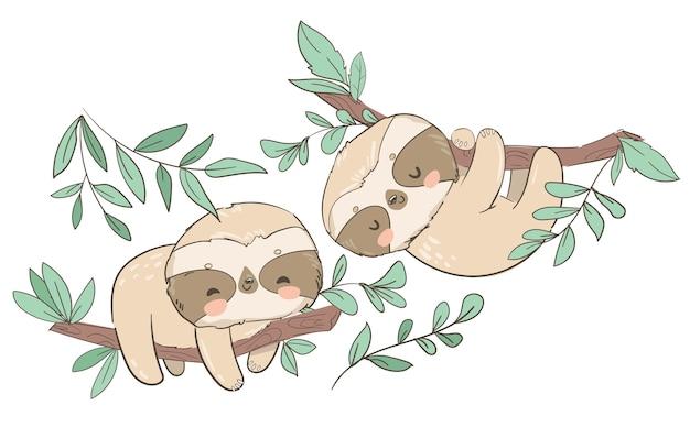 Bradipo animale carino disegnato a mano sull'illustrazione dell'albero