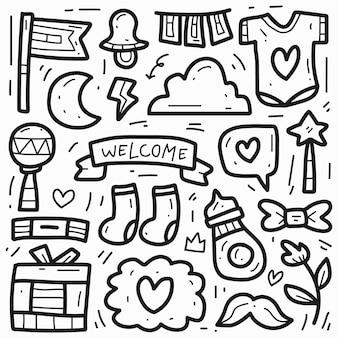 Disegno di doodle del fumetto del bambino sveglio disegnato a mano