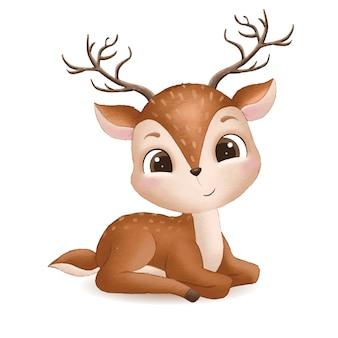 Illustrazione di cervo bambino carino disegnato a mano