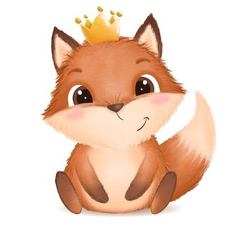 Illustrazione foxy del bambino sveglio disegnato a mano