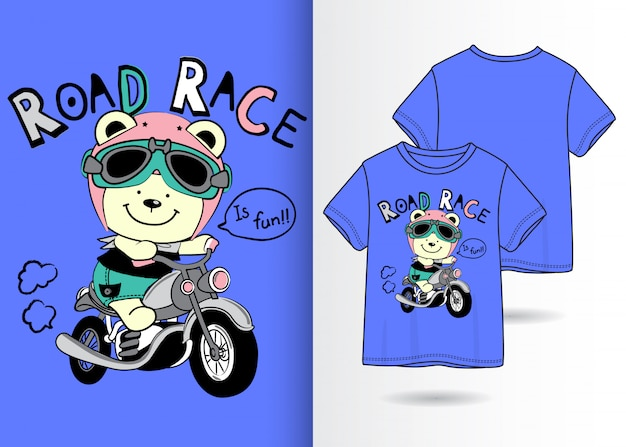 Illustrazione di orso carino disegnato a mano con design t-shirt