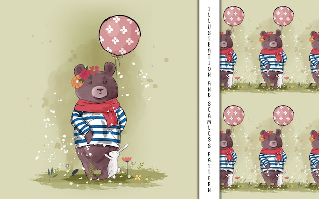 Orso carino disegnato a mano con palloncino per bambini