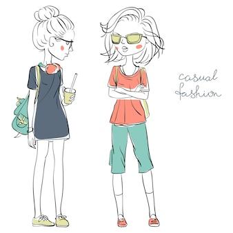Belle ragazze carine disegnate a mano in abiti casual