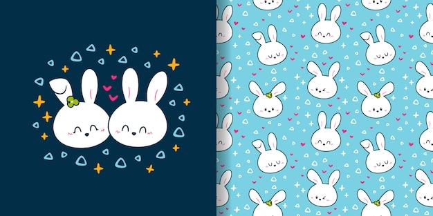 Reticolo senza giunte delle coppie del coniglietto carino disegnato a mano
