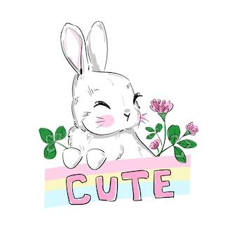 Coniglietto carino disegnato a mano e testo carino scritto a mano, illustrazione infantile