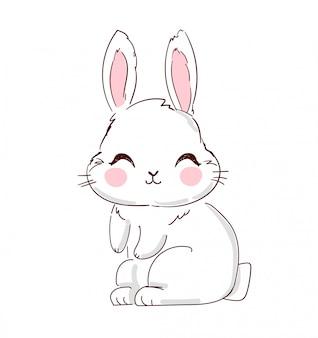 Illustrazione disegnata a mano coniglietto carino