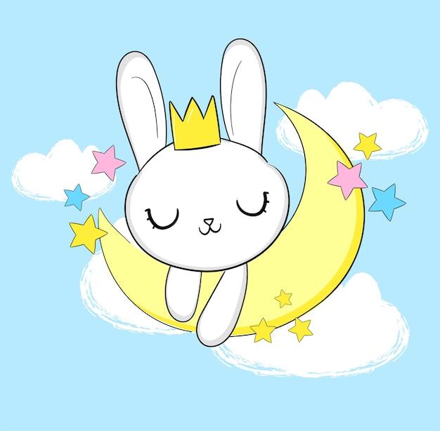 Coniglietto sveglio disegnato a mano con corona sulla luna e illustrazione stellata