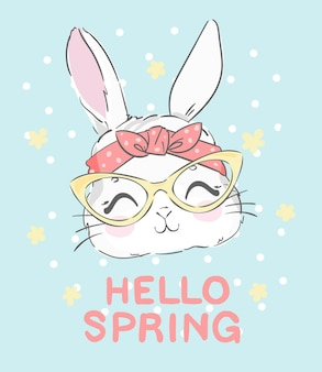 Coniglietto sveglio disegnato a mano con gli occhiali e un fiocco con fiori e scritte ciao primavera