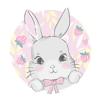 Coniglietto sveglio disegnato a mano con foglie di fragola e bacche