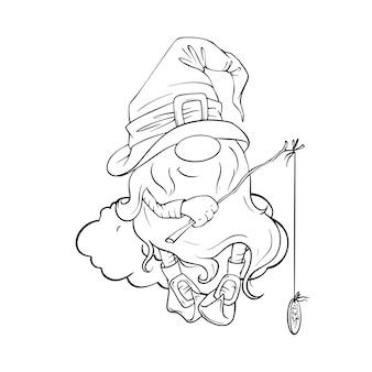 Gnomo simpatico cartone animato disegnato a mano Vettore Premium