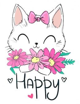 Gatto sveglio disegnato a mano e fiori rosa. stampa per tessuti per bambini, cartellonistica, scuola materna. azione dell'illustrazione dei fiori della camomilla.