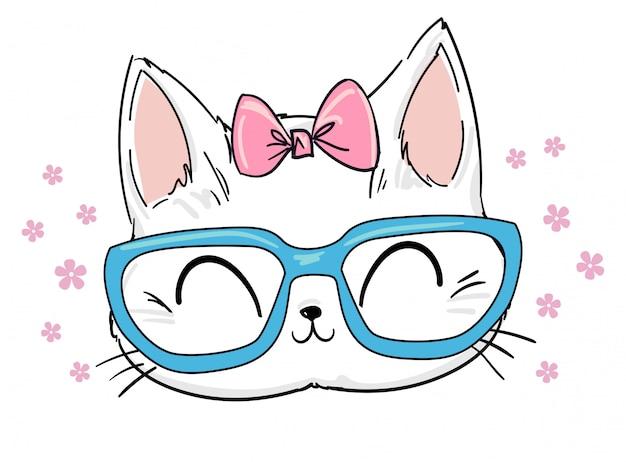 Gatto sveglio disegnato a mano con occhiali e illustrazione di schizzo dell'arco, stampa design cat, stampa di bambini sulla maglietta.