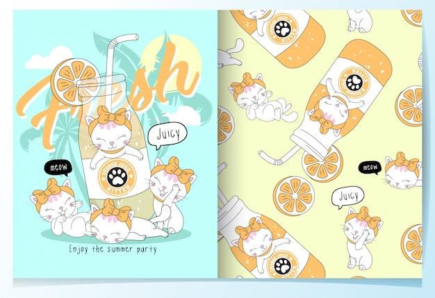 Insieme di modelli di gatti carino disegnato a mano