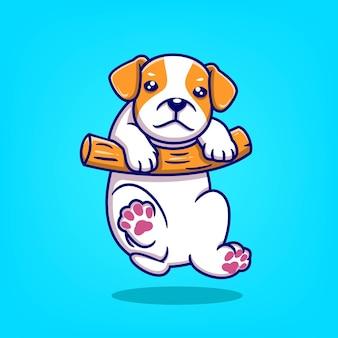 Fumetto sveglio disegnato a mano del cane che appende sull'illustrazione di vettore di legno