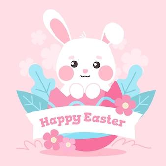 Illustrazione sveglia del coniglietto di pasqua disegnata a mano con il saluto