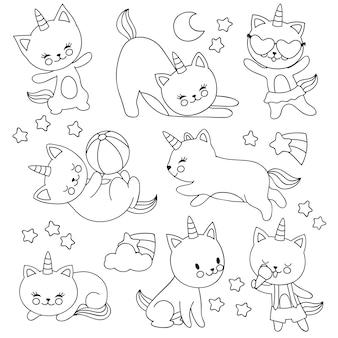 Gatti di unicorno volante carino disegnati a mano. personaggi dei cartoni animati di vettore per il libro da colorare per bambini
