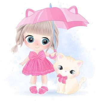 Ragazza carina disegnata a mano e personaggio gattino