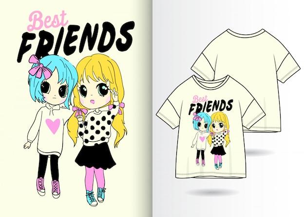 Illustrazione sveglia disegnata a mano delle ragazze con progettazione della maglietta