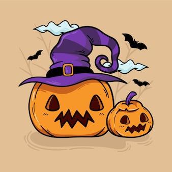 Zucche di halloween carino disegnati a mano