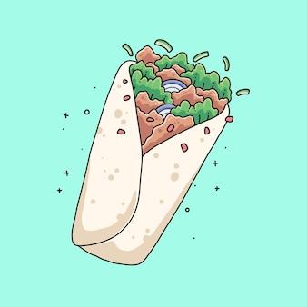 Illustrazione vettoriale di disegno di kebab carino disegnato a mano