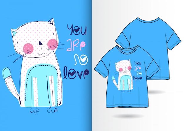 Illustrazione di gattino carino disegnato a mano con design t-shirt