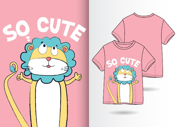 Illustrazione di leone carino disegnato a mano con design t-shirt