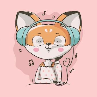 Musica d'ascolto della ragazza piccola volpe sveglia disegnata a mano