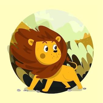Simpatico leoncino disegnato a mano in piedi coraggioso sullo sfondo della foresta ventosa della savana