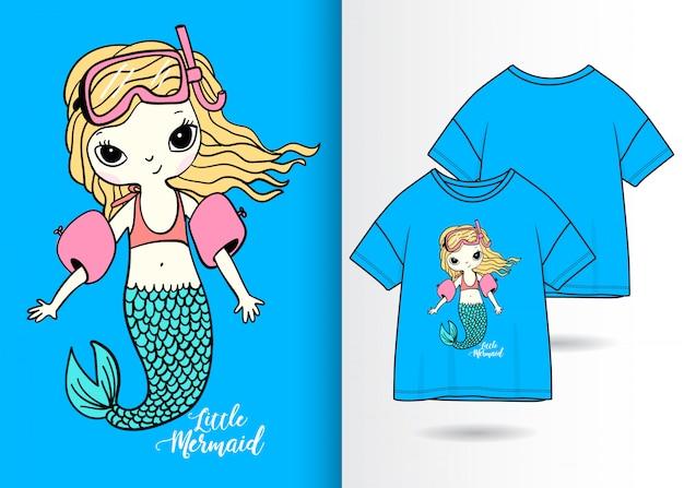 Illustrazione di sirena carina disegnata a mano con design t-shirt