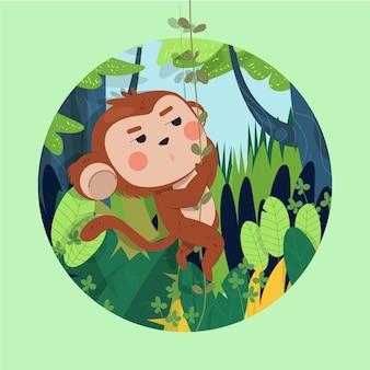 Illustrazione di scimmia carina disegnata a mano che oscilla su un ramo di un albero nella foresta tropicale
