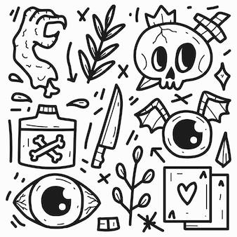 Disegno di doodle del fumetto mostro carino disegnato a mano