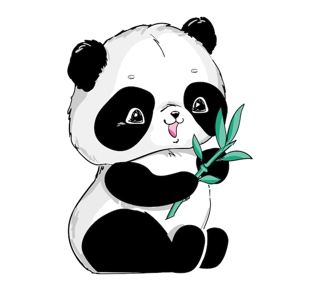 Panda carino disegnato a mano con illustrazione di bambù