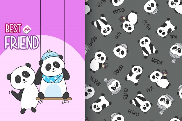 Panda sveglio disegnato a mano con l'insieme di vettore del modello