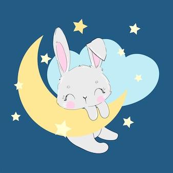 Coniglio sveglio disegnato a mano sull'illustrazione della luna