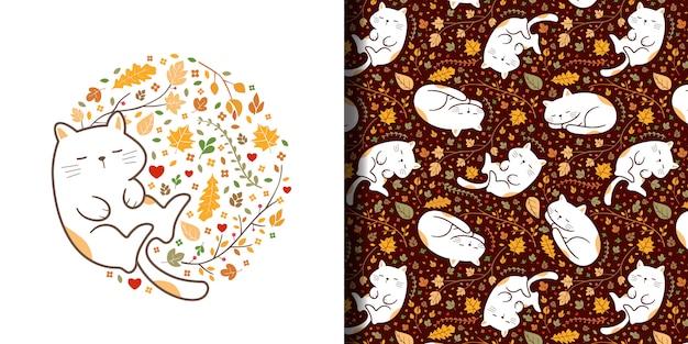 Modello senza cuciture dei gatti addormentati svegli disegnati a mano