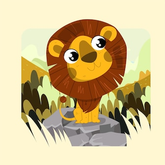 Piccolo leone sorridente sveglio disegnato a mano che sta sulle rocce con il fondo della foresta della savana