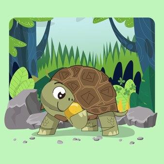 Tartaruga gigante disegnata a mano tartaruga gigante che mangia felice con sfondo verde della foresta