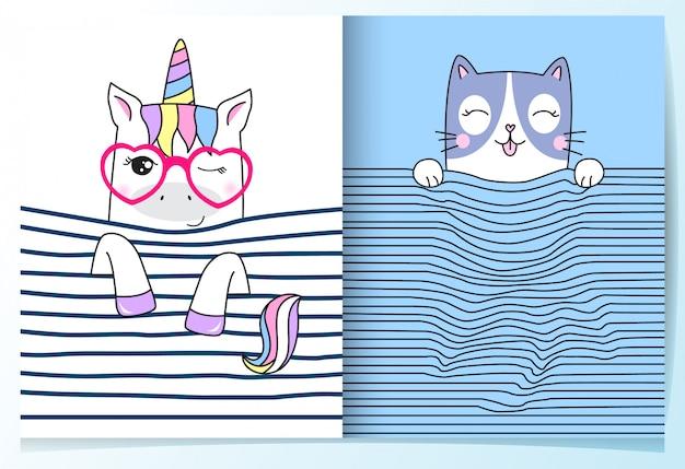 Insieme di unicorno e gatto carino disegnato a mano