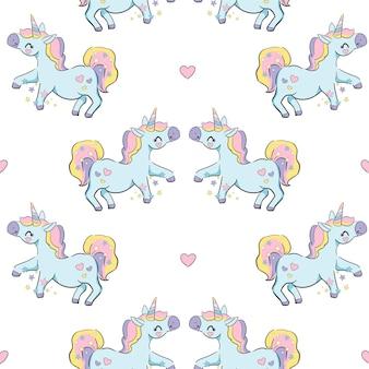 Unicorno carino disegnato a mano, modello senza cuciture di vettore di pony, stampa per bambini