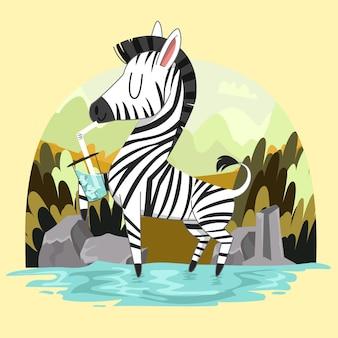 La zebra carina disegnata a mano si diverte a bere acqua con ghiaccio sullo sfondo della foresta di savana