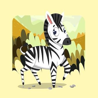 Zebra carina disegnata a mano sullo sfondo della foresta di savanna