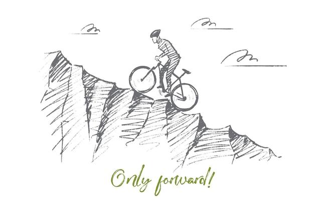 Ciclista disegnato a mano in sella in salita con scritte