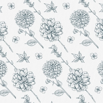Dalia disegnata a mano e motivo botanico vintage di fiori selvatici