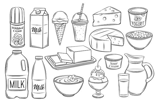 Icone di prodotti lattiero-caseari disegnati a mano