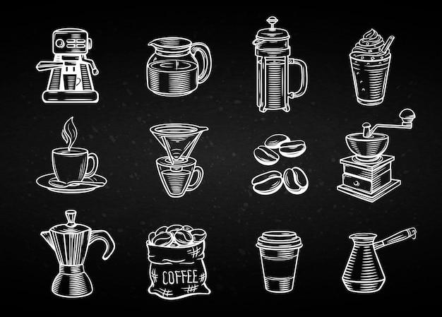 Set di icone decorative disegnate a mano del caffè