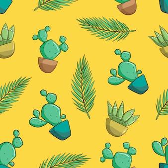 Reticolo senza giunte decorativo disegnato a mano con cactus e piante grasse. modello di doodle