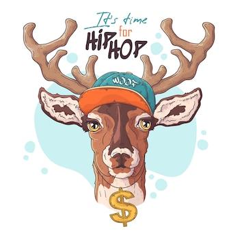 Ritratto di rapper cervo disegnato a mano con accessori