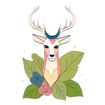 Cervo disegnato a mano con foglia e fiore su sfondo bianco