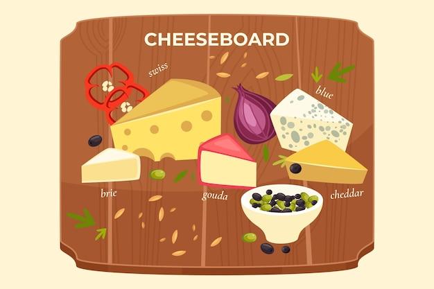 Tagliere di formaggi deliziosi disegnati a mano