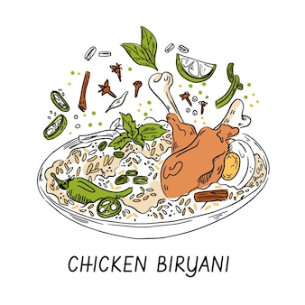 Biryani di pollo delizioso disegnato a mano